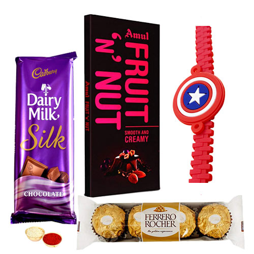 Yummy Mixed Chocolates with Captain America Rakhi