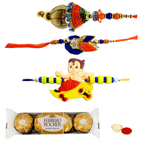 Fantastic Family Rakhi Set with Ferrero Rocher Chocolates