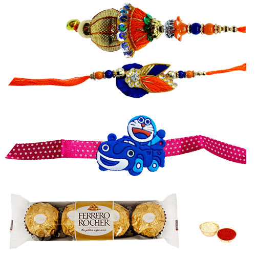 Wonderful Family Rakhi Set with Ferrero Rocher Chocolates