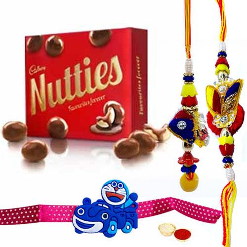 Stunning Family Rakhi Set with Cadbury Nutties Pack