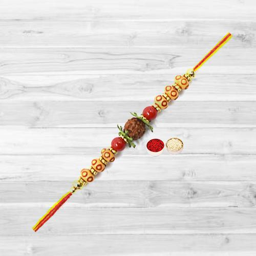 Charismatic Rudraksha Rakhi Filled with Happiness