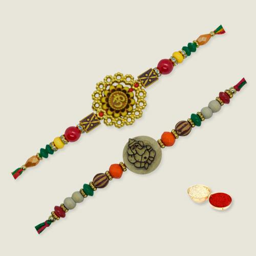 Marvelous Beaded Thread Rakhi with Warm Love<br><br><br>