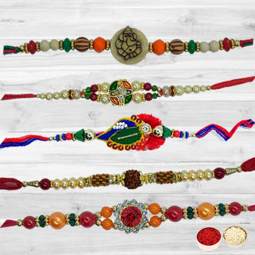 Holy Festival with Striking 5 Pcs Rakhi