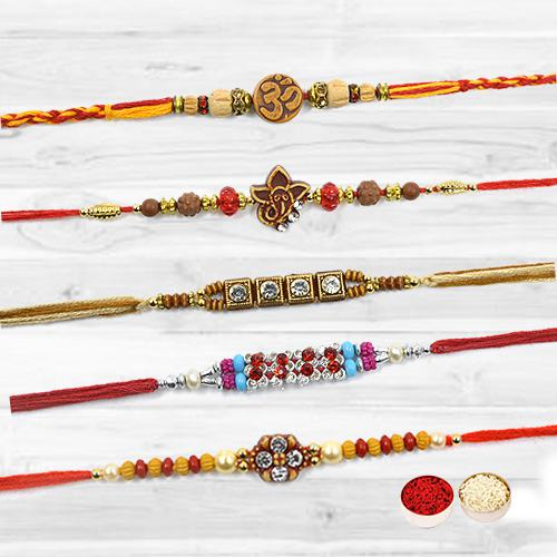 Stylish Celebration with Tendering Five Rakhis