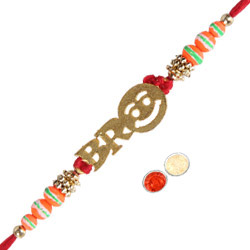 Delightful Bro Rakhi Gift with Message Card N Roli Tika N Chawal