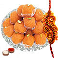 A Free Decorative Rakhi, Roli, Tilak and Chawal with Haldiram Pure Ghee Ladoo