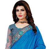 Vivid Appeal Blue Mono Net Silk Saree