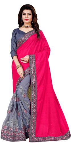 Supple Twinkle Pink Mono Net Silk Saree
