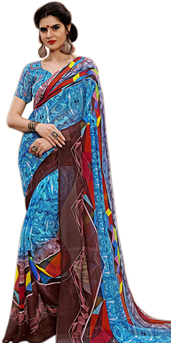 Multicolored Party Wear Marbel Chiffon Saree for Ladies