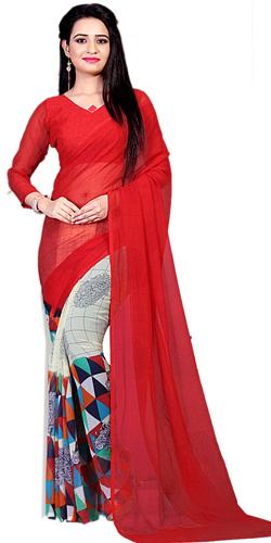 Classy Multicolor Printed Saree in Marble Chiffon Fabric