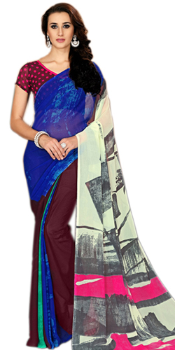 Fabulous Varicolored Marbel Chiffon Saree for Women