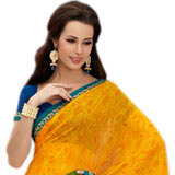 Vibrant Yellow Faux Georgette Saree