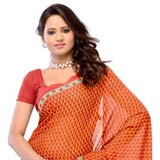 Enciting Red and Yellow Georgette Saree