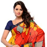 Beautiful Yellow,Red and Blue Georgette Saree