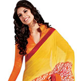 Gorgeous Yellow and Orange Georgette Saree