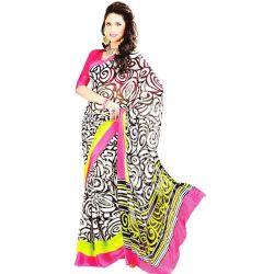 Gorgeous Black and White Georgette Satin Saree