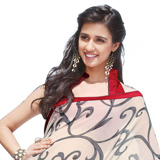 Vibrant Off White Faux Georgette Saree