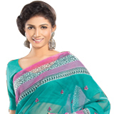Amazing Printed Net Saree in Green and Pink Colour
