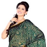 Amazing Bhagalpuri Cotton Printed Green Saree