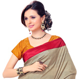 Elegant Crepe Printed Cream Saree