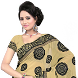 Exceptional Printed 60 gm Saree in Beige and Black Colored