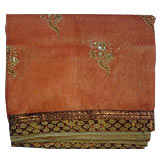Incredibly gorgeous looking  pink and Golden organza  Saree