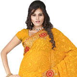 Vibrant looking embroidered yellow chiffon saree
