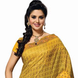 Adorning cotton printed saree in yellow colour