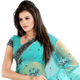 Breathtaking embroidered light blue net saree