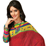 Amazing Red and White Color Cotton Silk Saree