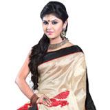 Beautiful Printed Tassar Silk Beige Color Saree