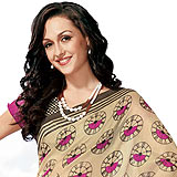 Splendid Rani and Beige Color Cotton Silk Saree