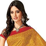 Gorgeous Cotton Silk Saree in Mustard Color