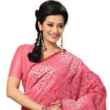 Beautiful looking cotton pink printed saree