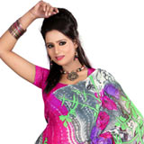 Attractive Dani Georgette Saree in Grey and Pink Colour