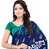 Impressive Faux Georgette Printed Saree in Navy Blue Colour