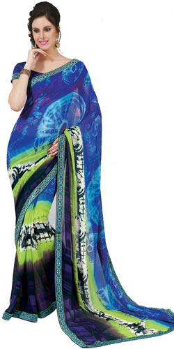 Amazing Multicolor Faux Georgette Saree