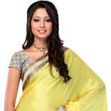 Yellow, White Colored Chiffon Printed Saree