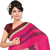 Admirable Pink Coloured Georgette Printed Saree