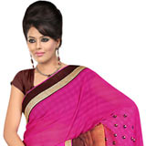Astonishing Gorgettee Printted Saree in Pink, Chrome and Brown