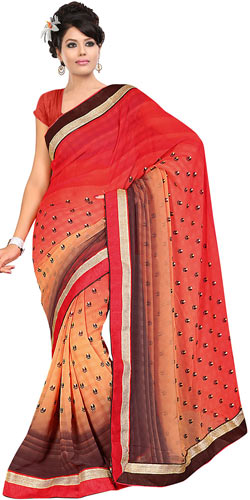 Appealing Georgette Printed Saree in Fire Orange, Cream and Brown Colours