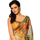 Charismatic Multi-Couloured Floral Printed Faux Georgette Saree