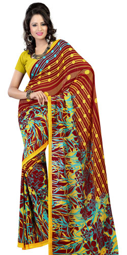 Arresting Brown and Mustard Coloured Faux Georgette Plain Saree