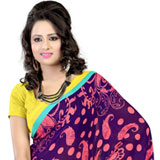 Amazing Purple Coloured Faux Georgette Printed Saree