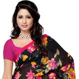 Exclusively Designed Black Coloured Dani Georgette Printed Saree