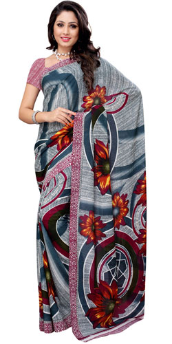 Elegant Renial Georgette Printed Saree in Teal and White Colours
