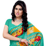 Appealing Turquoise and Yellow Coloured Heavy Dani Georgette Printed Saree