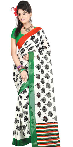 Dazzling Dani Georgette Printed Saree in White with Floral Prints