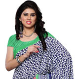 Spectacular Crepe Printed Saree in Dark Blue and Green Colours