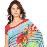 Remarkable Georgette Printed Saree in Yellow and Sky Blue